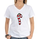 Happy Smiley Candy Cane Women's V-Neck T-Shirt