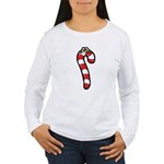 Happy Smiley Candy Cane Women's Long Sleeve T-Shir