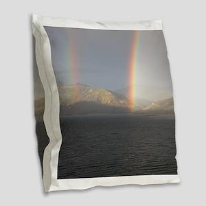Double Rainbow Burlap Throw Pillow