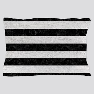 STRIPES2BLACK MARBLE & WHITE LEATHER Pillow Case