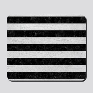 STRIPES2BLACK MARBLE & WHITE LEATHER Mousepad