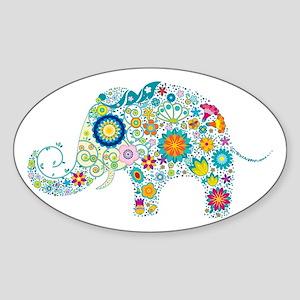 Colorful Retro Floral Elephant Sticker
