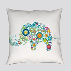 Colorful Retro Floral Elephant Everyday Pillow