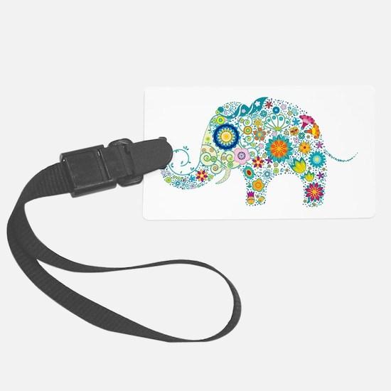 Colorful Retro Floral Elephant Large Luggage Tag