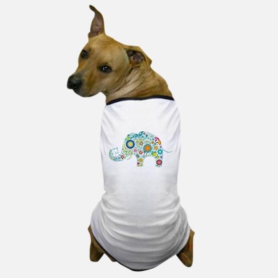 Colorful Retro Floral Elephant Dog T-Shirt