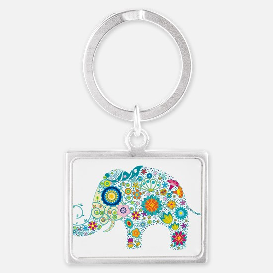 Colorful Retro Floral Elephant Keychains