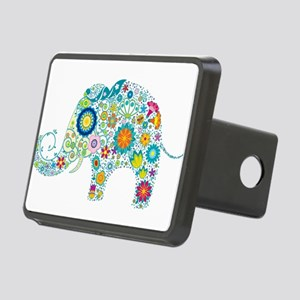 Colorful Retro Floral Elep Rectangular Hitch Cover