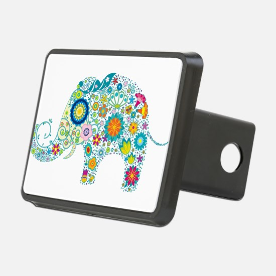 Colorful Retro Floral Elep Hitch Cover