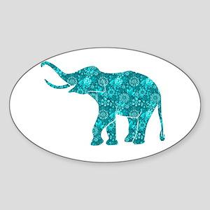 Blue-Green Retro Floral Elephant Sticker