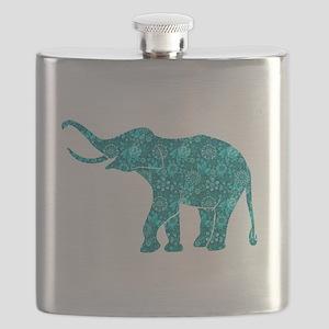 Blue-Green Retro Floral Elephant Flask