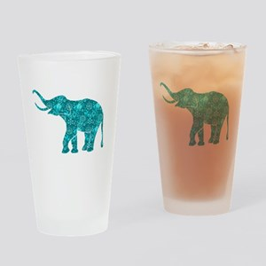 Blue-Green Retro Floral Elephant Drinking Glass