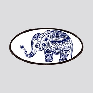 Cute Floral Elephant In Navy Blue Patch