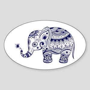 Cute Floral Elephant In Navy Blue Sticker
