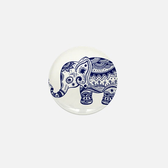 Cute Floral Elephant In Nav Mini Button (100 pack)