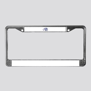 Cute Floral Elephant In Navy B License Plate Frame