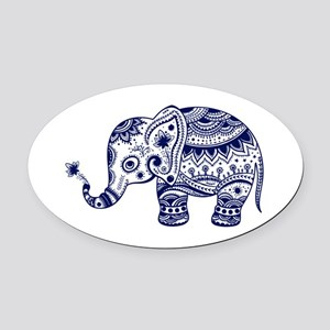 Cute Floral Elephant In Navy Blue Oval Car Magnet