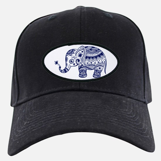 Cute Floral Elephant In Navy Blue Baseball Hat