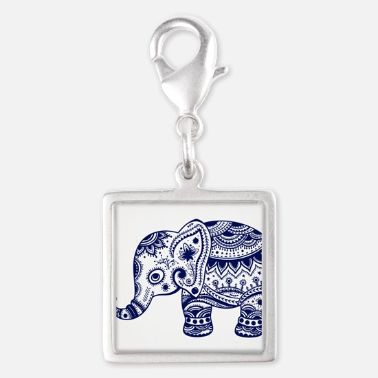 Cute Floral Elephant In Navy Blue Charms