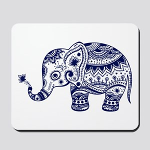 Cute Floral Elephant In Navy Blue Mousepad