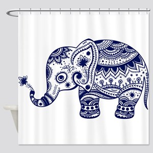 Cute Floral Elephant In Navy Blue Shower Curtain
