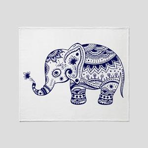Cute Floral Elephant In Navy Blue Throw Blanket