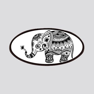 Cute Floral Elephant illustration In Black Patch