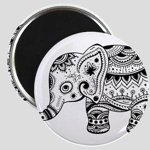 Cute Floral Elephant illustration In Black Magnets