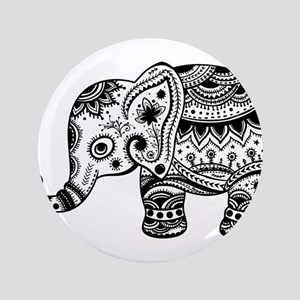 Cute Floral Elephant illustration In Black Button