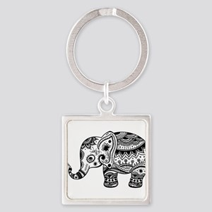Cute Floral Elephant illustration In Bla Keychains