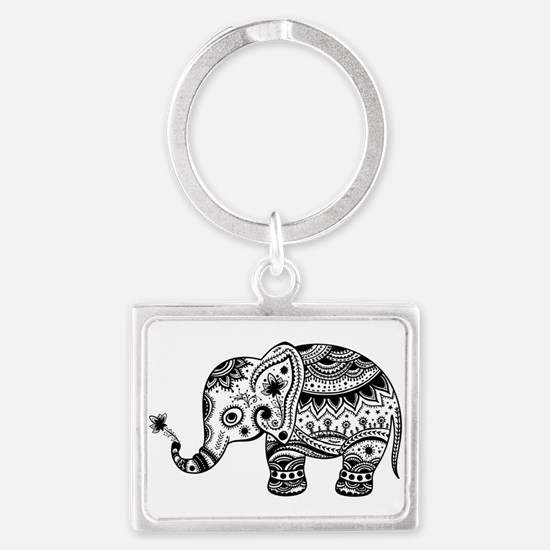 Cute Floral Elephant illustration In Bla Keychains