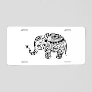 Cute Floral Elephant illust Aluminum License Plate
