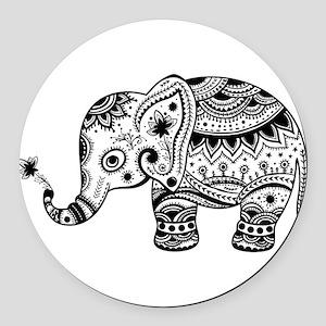 Cute Floral Elephant illustration Round Car Magnet