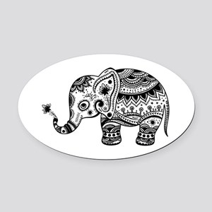 Cute Floral Elephant illustration Oval Car Magnet