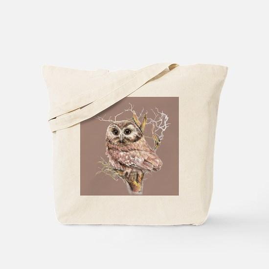Cute Little Owl in Tree Bird Nature Watercolor Tot