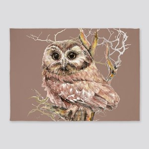 Cute Little Owl in Tree Bird Nature Watercolor 5'x