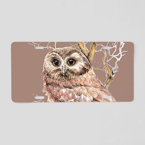 Cute Little Owl in Tree Bird Nature Watercolor Alu