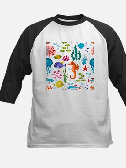 Colorful sea life and animals cute Baseball Jersey