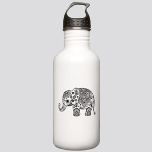 Black Floral Paisley E Stainless Water Bottle 1.0L