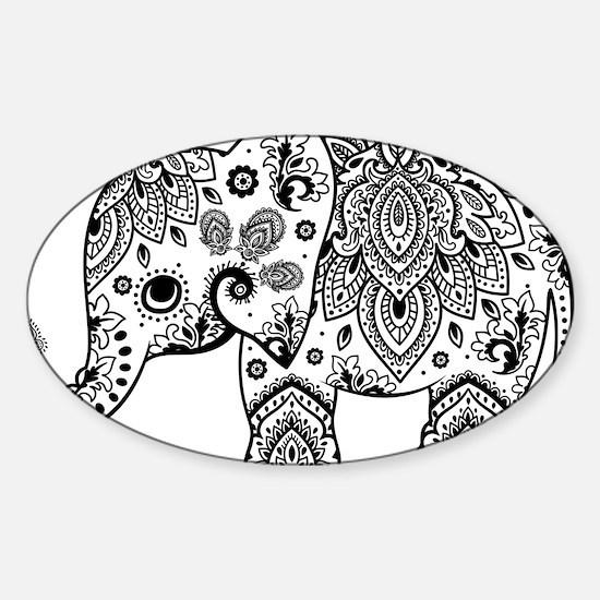 Black Floral Paisley Elephant Illustration Decal
