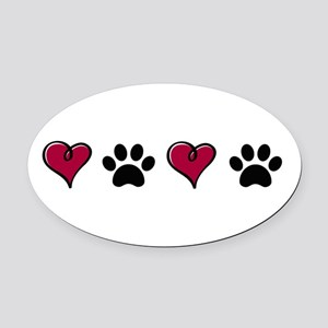 Love Pets Oval Car Magnet