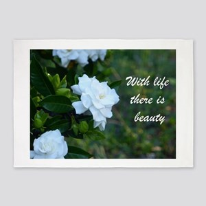 Meaningful Gardenia Flower Quote 5'x7'Area Rug