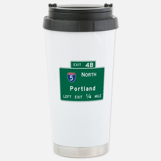 Portland, OR Road Sign, Stainless Steel Travel Mug
