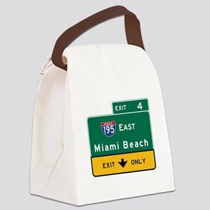 Miami Beach, FL Road Sign, USA Canvas Lunch Bag