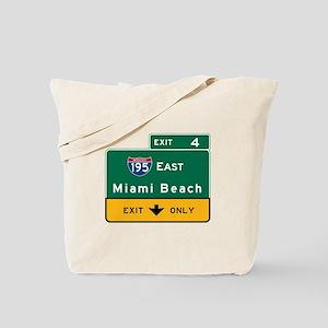 Miami Beach, FL Road Sign, USA Tote Bag