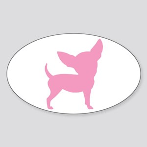 Pink Funny Cute Chihuahua Oval Sticker