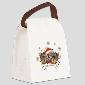 Yorkie Christmas Canvas Lunch Bag