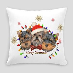 Yorkie Christmas Everyday Pillow