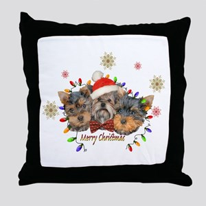 Yorkie Christmas Throw Pillow