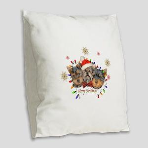 Yorkie Christmas Burlap Throw Pillow