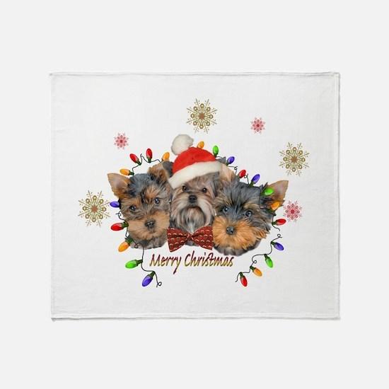 Yorkie Christmas Throw Blanket